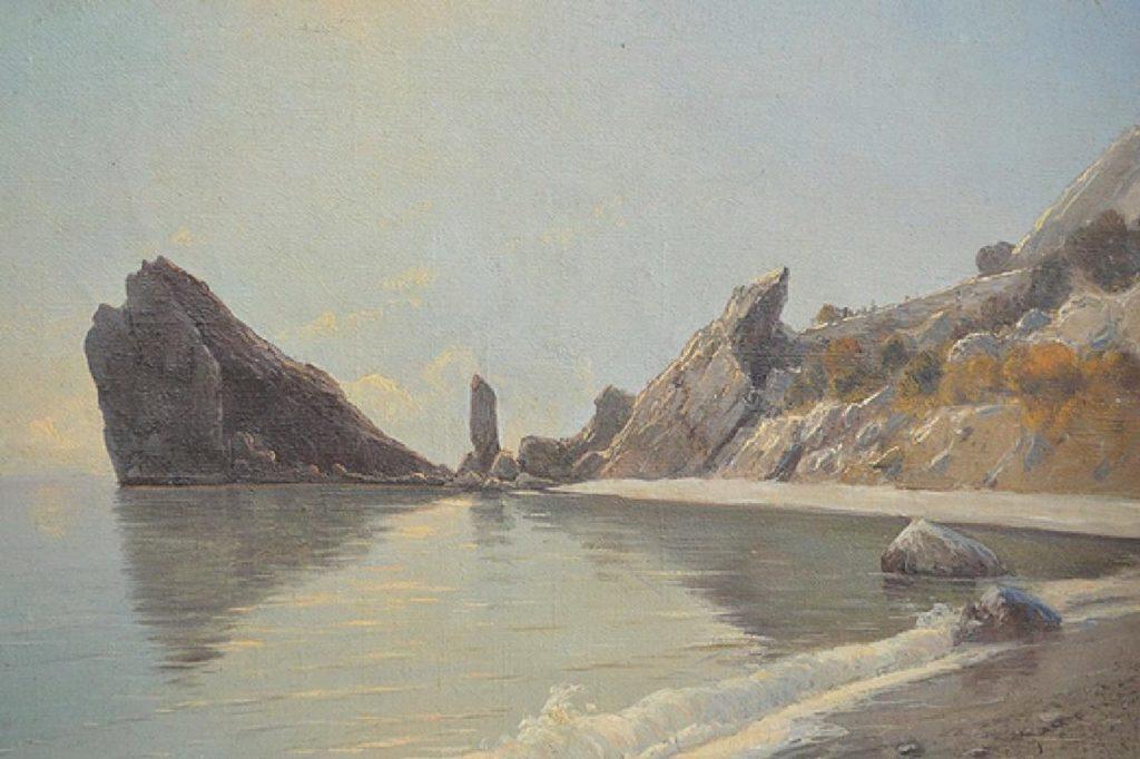 Алисов М. А.  Морской пейзаж спокойного дня со скалами.