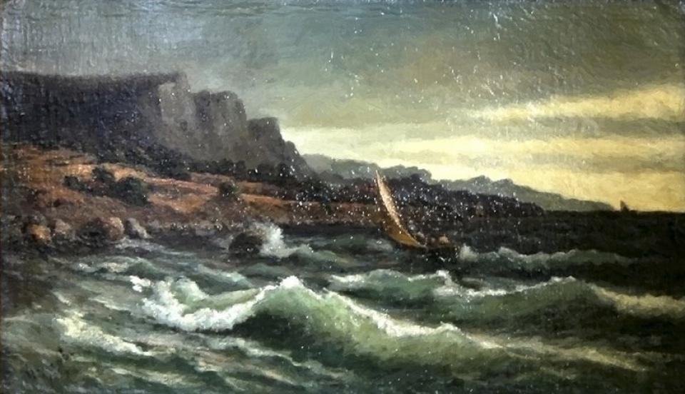 Алисов М. А. Рыболовецкое судно у скал. 1894