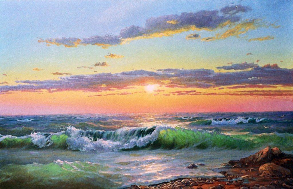Амбурский А. Закат. Морской пейзаж