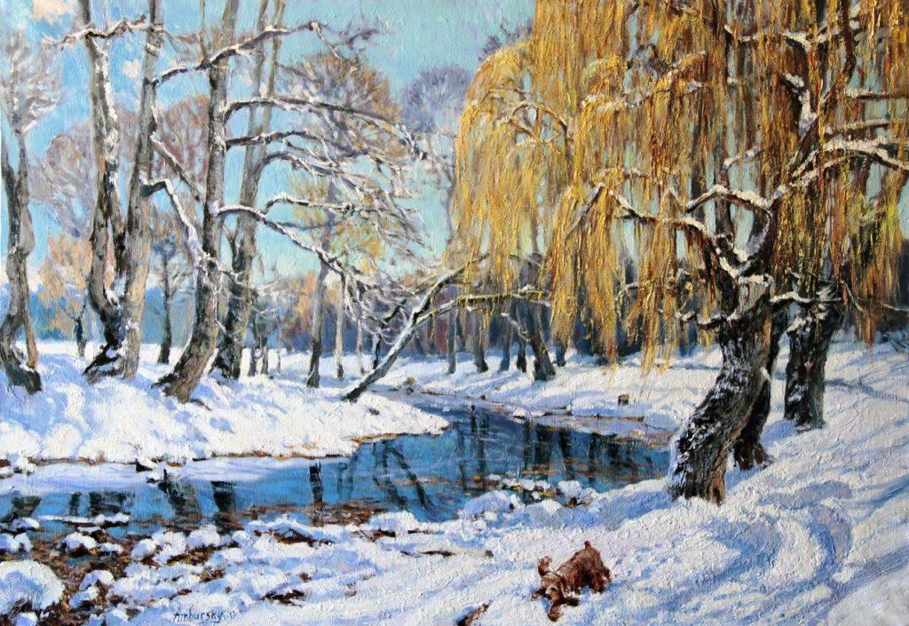 Амбурский А. Прогулка у зимней реки