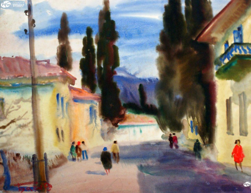 Басов Я. А. Ялта. Летняя улица. 1962