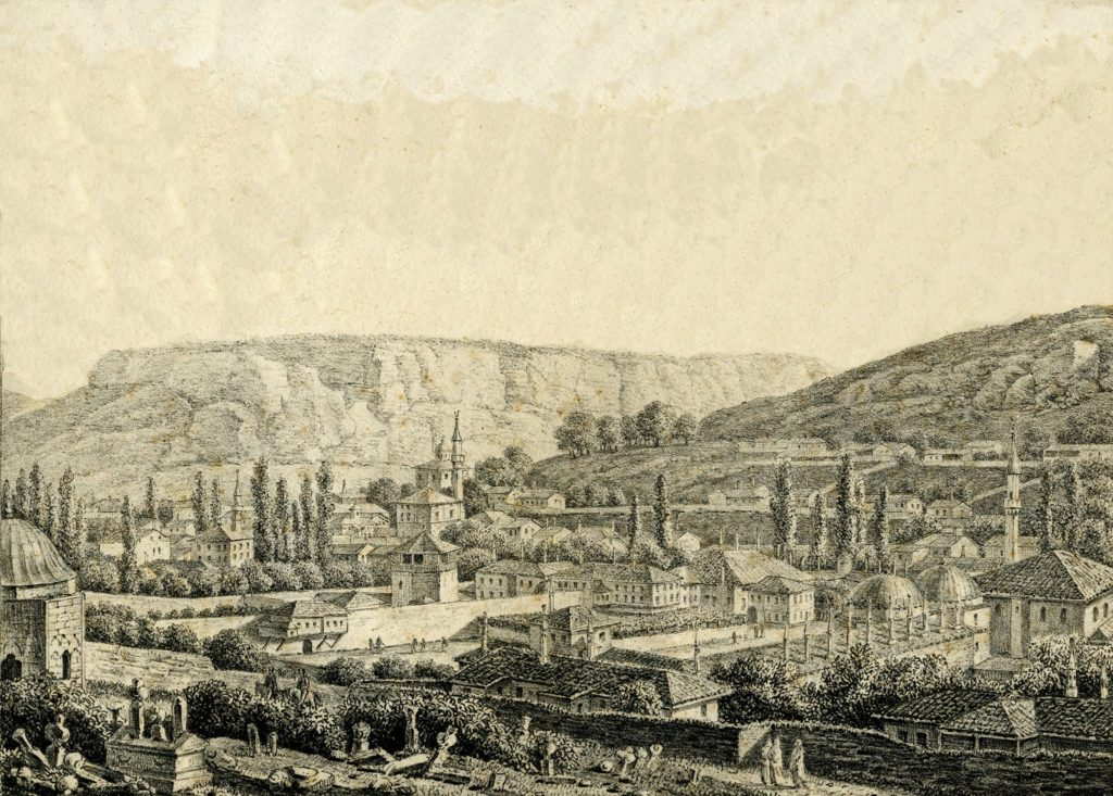 Бахчисарай 1804 году. Армянская церковь Рождества Богородицы хорошо видна на заднем плане, за мечетью Ешиль-Джами